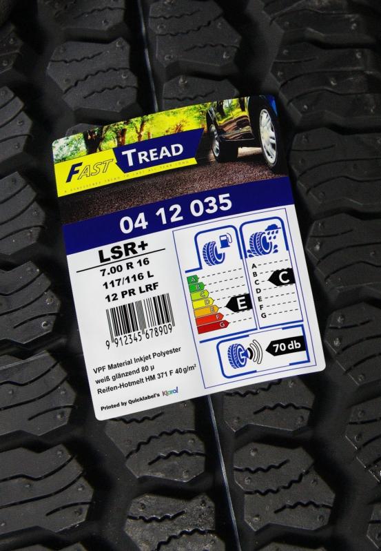 Etiquettes de pneus papier 87µ pour impression jet d'encre